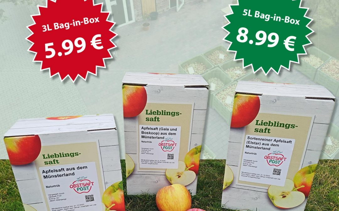Frisch gepresster Apfelsaft zu kaufen
