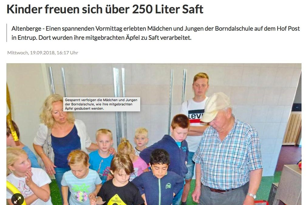 Borndalschule besucht Mosterei Post